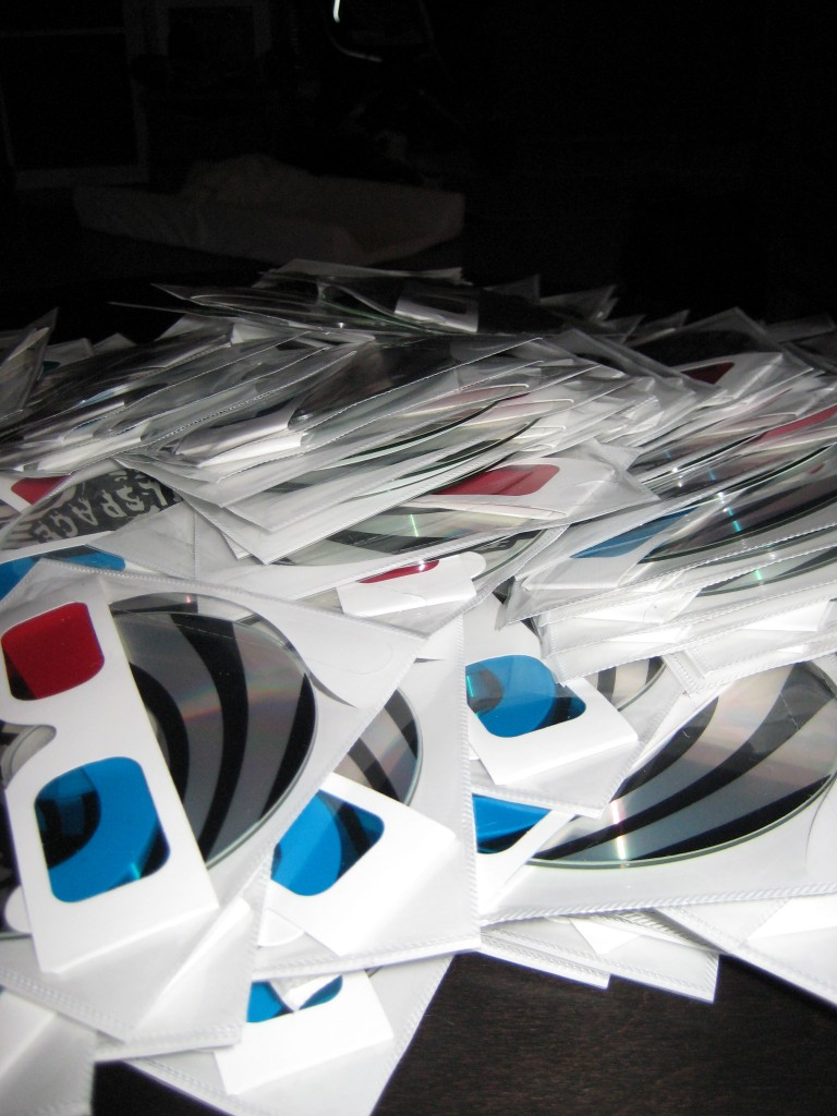 CD and 3-D glasses pre-production